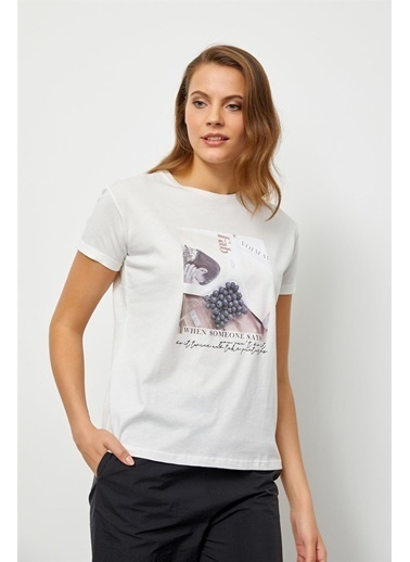 Setre Ekru Baskılı Kısa Kol T-Shirt Ekru